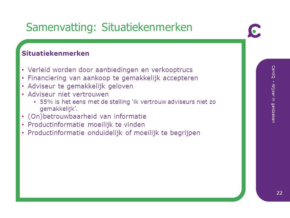CentiQ - Wijzer in geldzaken 22 Samenvatting: Situatiekenmerken Situatiekenmerken Verleid worden door aanbiedingen en verkooptrucs Financiering van aa