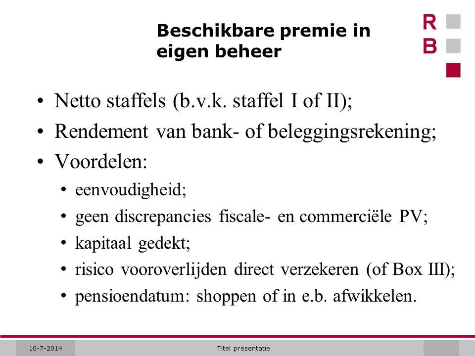 10-7-2014Titel presentatie Beschikbare premie in eigen beheer Netto staffels (b.v.k. staffel I of II); Rendement van bank- of beleggingsrekening; Voor