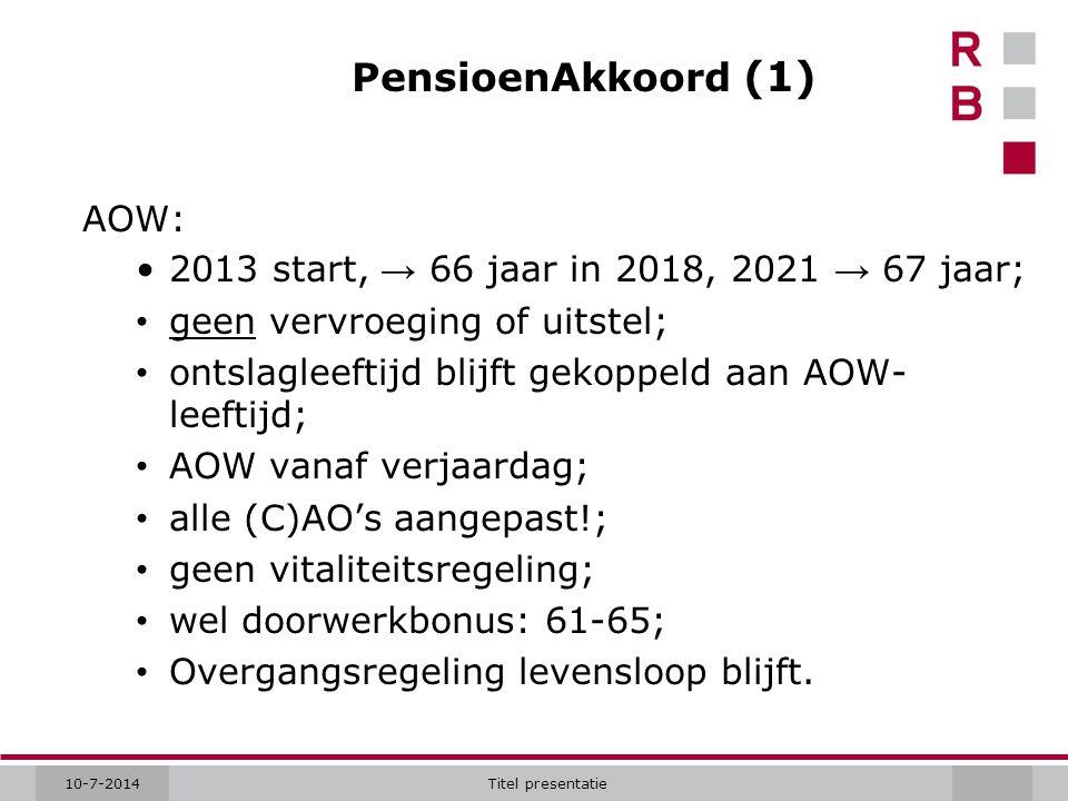 10-7-2014Titel presentatie PensioenAkkoord (1) AOW: 2013 start, → 66 jaar in 2018, 2021 → 67 jaar; geen vervroeging of uitstel; ontslagleeftijd blijft