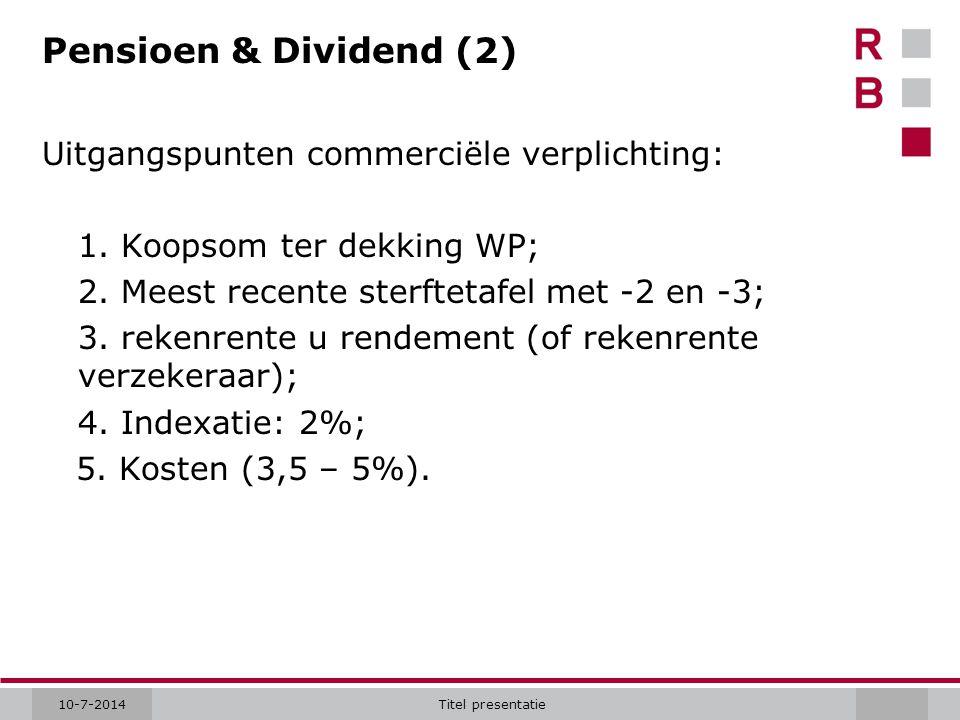 10-7-2014Titel presentatie Pensioen & Dividend (2) Uitgangspunten commerciële verplichting: 1. Koopsom ter dekking WP; 2. Meest recente sterftetafel m