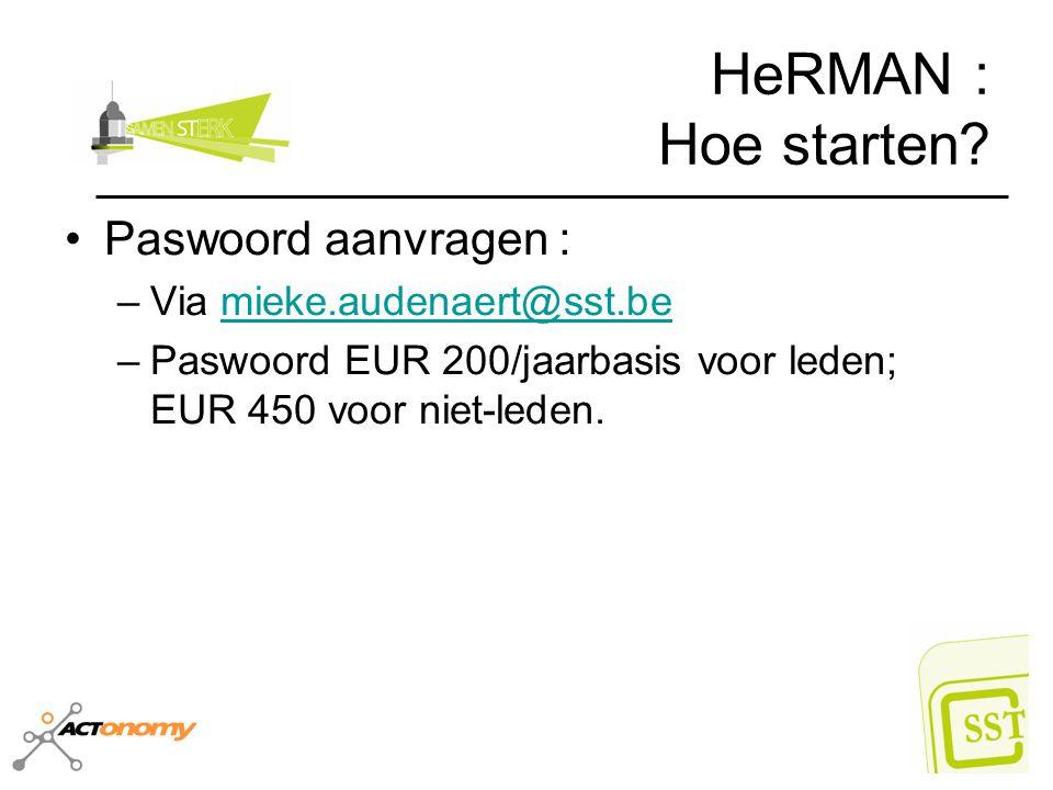 HeRMAN : Hoe starten? Paswoord aanvragen : –Via mieke.audenaert@sst.bemieke.audenaert@sst.be –Paswoord EUR 200/jaarbasis voor leden; EUR 450 voor niet