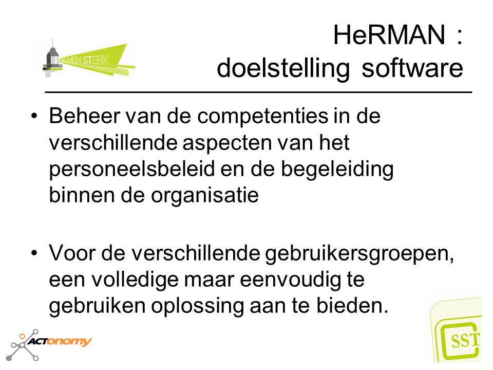 HeRMAN : doelstelling software Beheer van de competenties in de verschillende aspecten van het personeelsbeleid en de begeleiding binnen de organisati