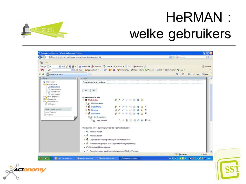 HeRMAN : welke gebruikers