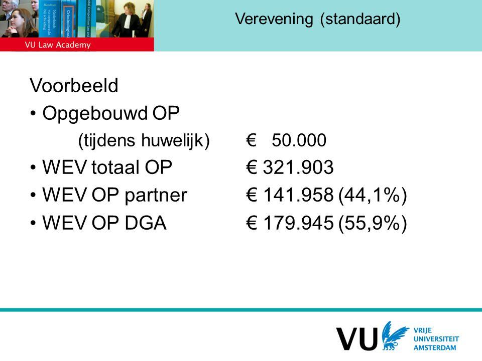 Verevening (standaard) Voorbeeld Opgebouwd OP (tijdens huwelijk)€ 50.000 WEV totaal OP € 321.903 WEV OP partner€ 141.958 (44,1%) WEV OP DGA€ 179.945 (55,9%)