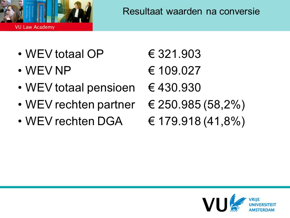 Resultaat waarden na conversie WEV totaal OP € 321.903 WEV NP € 109.027 WEV totaal pensioen€ 430.930 WEV rechten partner€ 250.985 (58,2%) WEV rechten DGA€ 179.918 (41,8%)