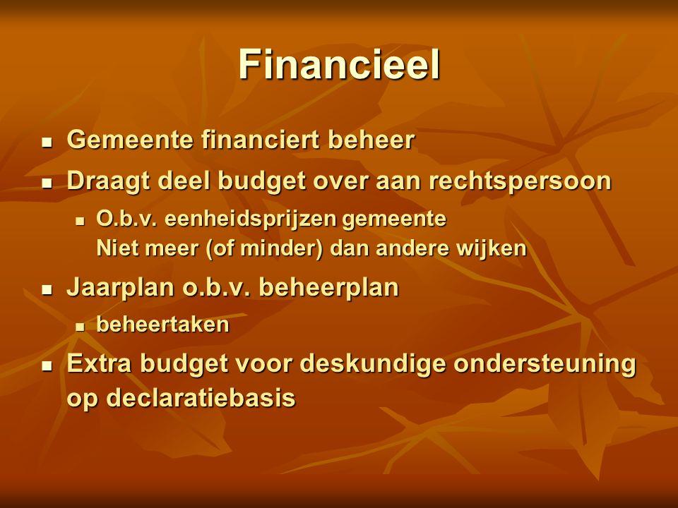 Financieel Gemeente financiert beheer Gemeente financiert beheer Draagt deel budget over aan rechtspersoon Draagt deel budget over aan rechtspersoon O.b.v.