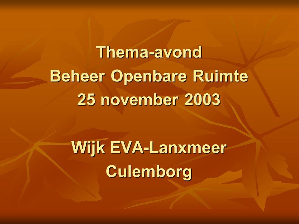 Thema-avond Beheer Openbare Ruimte 25 november 2003 Wijk EVA-Lanxmeer Culemborg