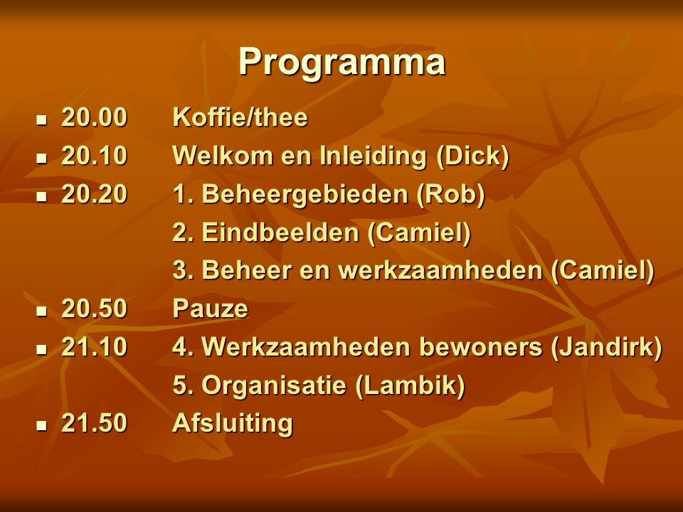 Programma 20.00 Koffie/thee 20.00 Koffie/thee 20.10 Welkom en Inleiding (Dick) 20.10 Welkom en Inleiding (Dick) 20.20 1. Beheergebieden (Rob) 20.20 1.