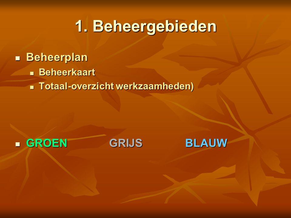 1. Beheergebieden Beheerplan Beheerplan Beheerkaart Beheerkaart Totaal-overzicht werkzaamheden) Totaal-overzicht werkzaamheden) GROENGRIJSBLAUW GROENG
