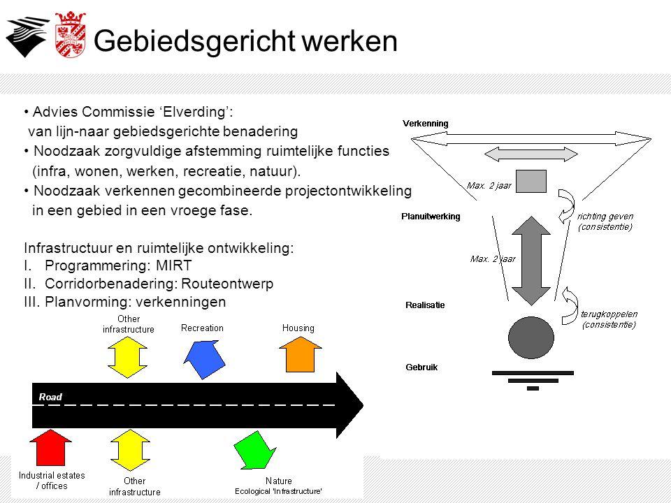 Gebiedsgericht werken Infrastructuur en ruimtelijke ontwikkeling: I. Programmering: MIRT II. Corridorbenadering: Routeontwerp III. Planvorming: verken