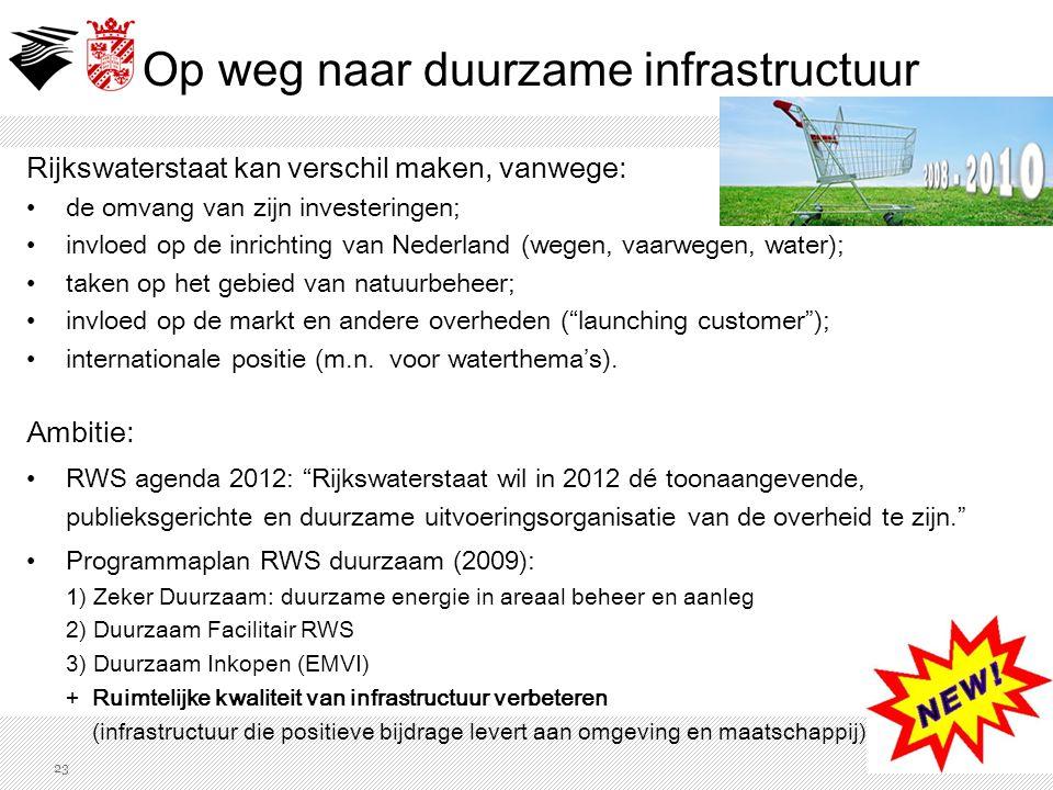 Rijkswaterstaat kan verschil maken, vanwege: de omvang van zijn investeringen; invloed op de inrichting van Nederland (wegen, vaarwegen, water); taken