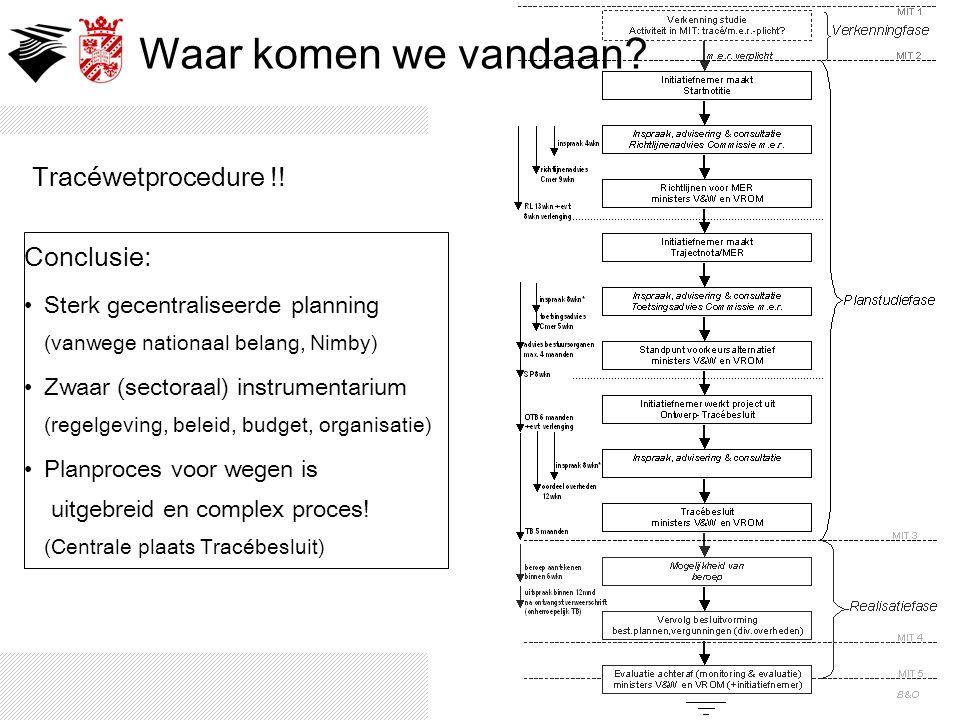 Tracéwetprocedure !! Conclusie: Sterk gecentraliseerde planning (vanwege nationaal belang, Nimby) Zwaar (sectoraal) instrumentarium (regelgeving, bele