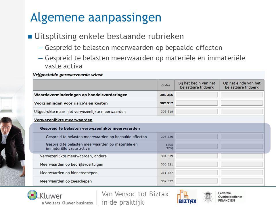 Van Vensoc tot Biztax in de praktijk Algemene aanpassingen Uitsplitsing enkele bestaande rubrieken —Gespreid te belasten meerwaarden op bepaalde effec