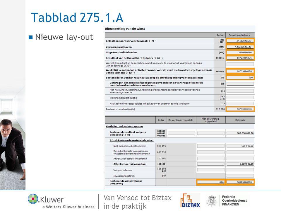 Van Vensoc tot Biztax in de praktijk Tabblad 275.1.A Nieuwe lay-out