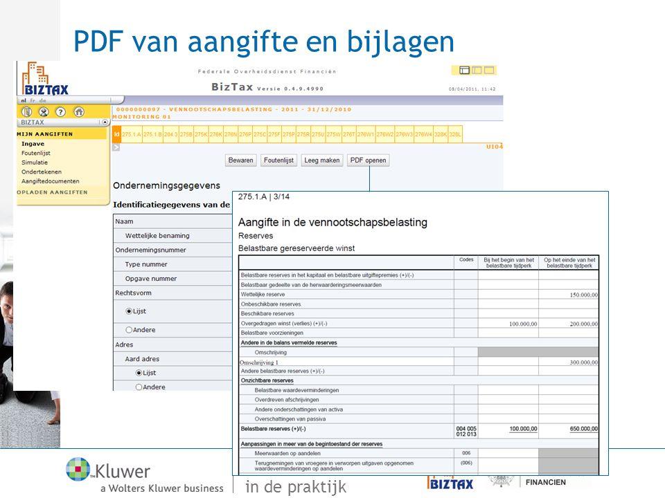 Van Vensoc tot Biztax in de praktijk PDF van aangifte en bijlagen