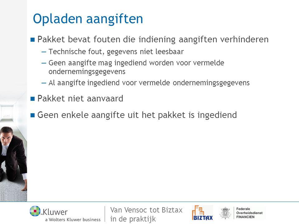 Van Vensoc tot Biztax in de praktijk Opladen aangiften Pakket bevat fouten die indiening aangiften verhinderen —Technische fout, gegevens niet leesbaa