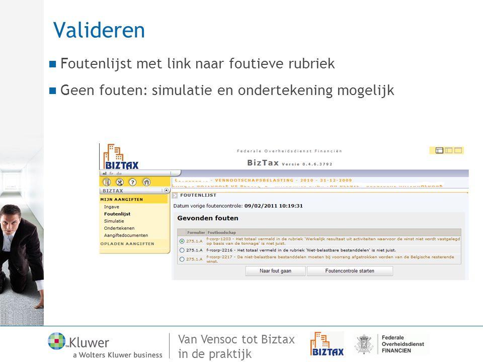 Van Vensoc tot Biztax in de praktijk Valideren Foutenlijst met link naar foutieve rubriek Geen fouten: simulatie en ondertekening mogelijk