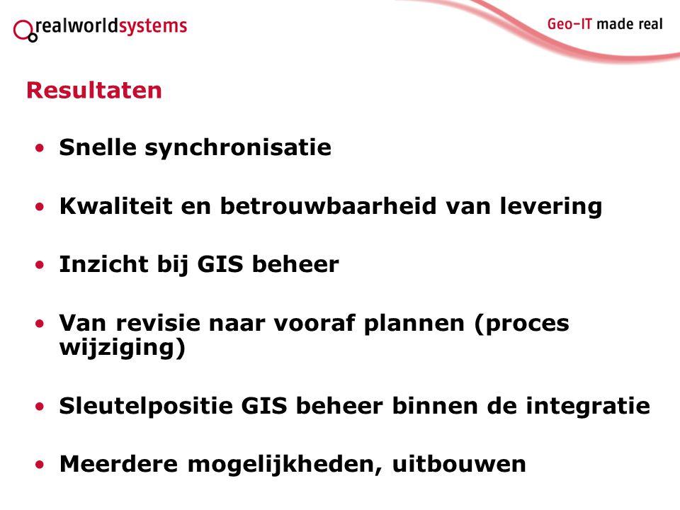 Resultaten Snelle synchronisatie Kwaliteit en betrouwbaarheid van levering Inzicht bij GIS beheer Van revisie naar vooraf plannen (proces wijziging) S