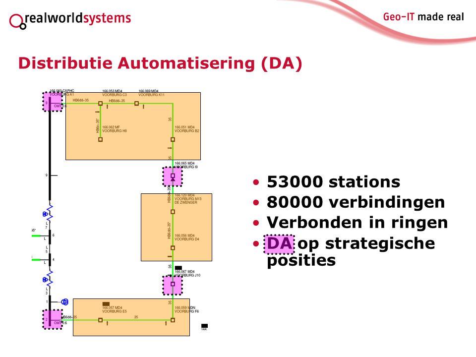 Distributie Automatisering (DA) 53000 stations 80000 verbindingen Verbonden in ringen DA op strategische posities