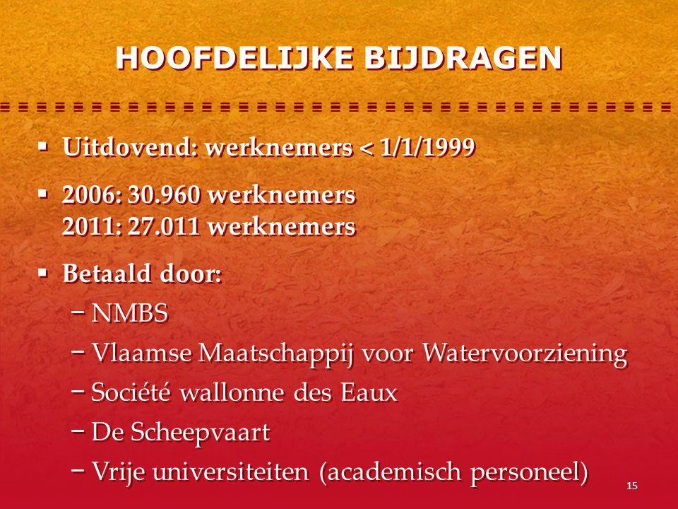 15  Uitdovend: werknemers < 1/1/1999  2006: 30.960 werknemers 2011: 27.011 werknemers  Betaald door: − NMBS − Vlaamse Maatschappij voor Watervoorzi