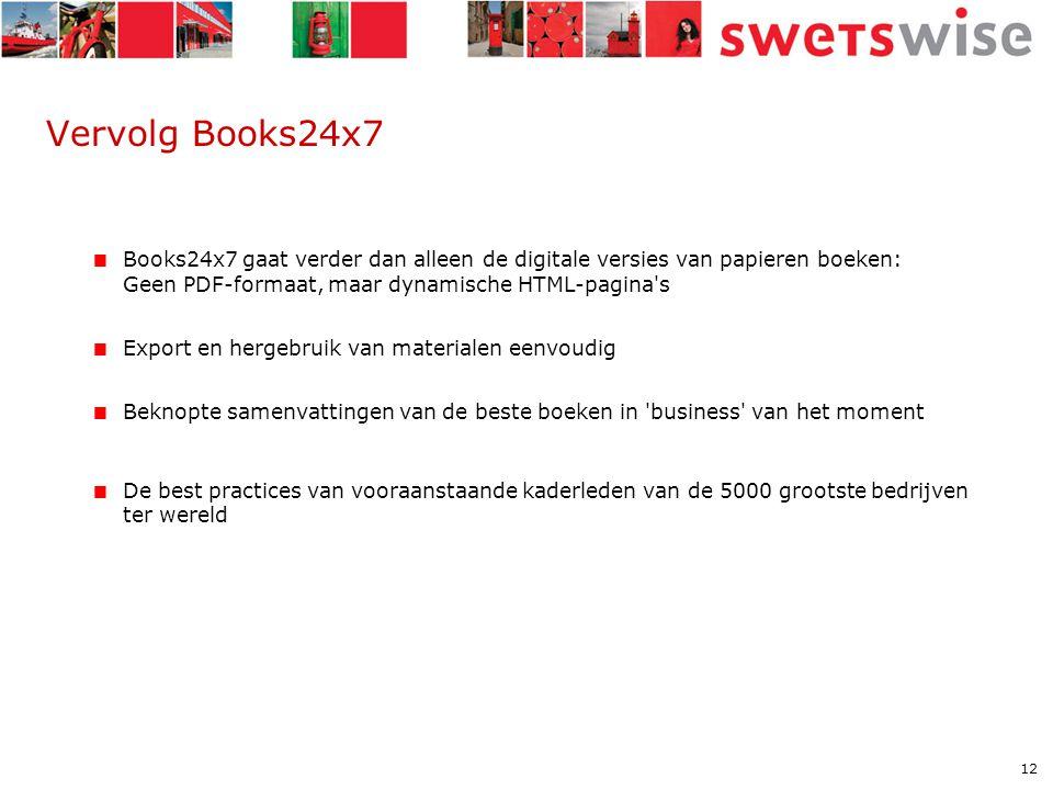 12 Vervolg Books24x7  Books24x7 gaat verder dan alleen de digitale versies van papieren boeken: Geen PDF-formaat, maar dynamische HTML-pagina s  Export en hergebruik van materialen eenvoudig  Beknopte samenvattingen van de beste boeken in business van het moment  De best practices van vooraanstaande kaderleden van de 5000 grootste bedrijven ter wereld