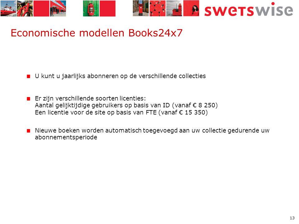 13 Economische modellen Books24x7  U kunt u jaarlijks abonneren op de verschillende collecties  Er zijn verschillende soorten licenties: Aantal gelijktijdige gebruikers op basis van ID (vanaf € 8 250) Een licentie voor de site op basis van FTE (vanaf € 15 350)  Nieuwe boeken worden automatisch toegevoegd aan uw collectie gedurende uw abonnementsperiode