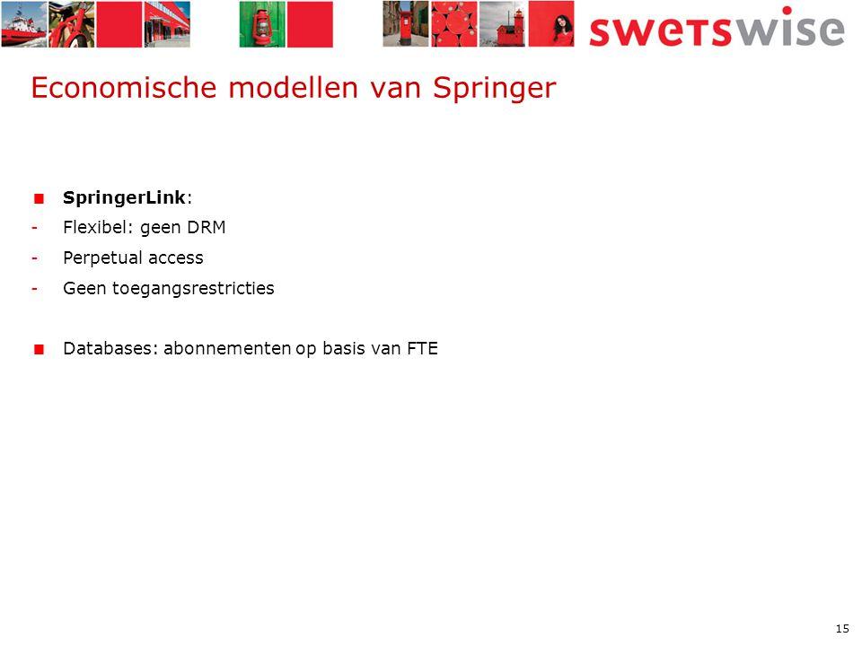 15 Economische modellen van Springer  SpringerLink: -Flexibel: geen DRM -Perpetual access -Geen toegangsrestricties  Databases: abonnementen op basis van FTE