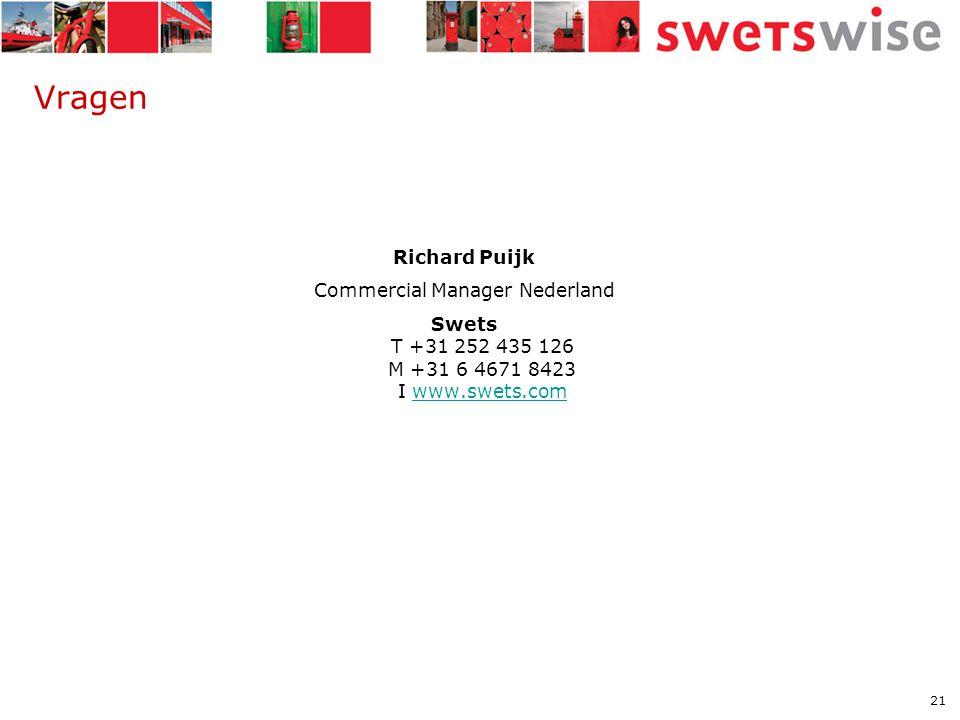 21 Vragen Richard Puijk Commercial Manager Nederland Swets T +31 252 435 126 M +31 6 4671 8423 I www.swets.comwww.swets.com
