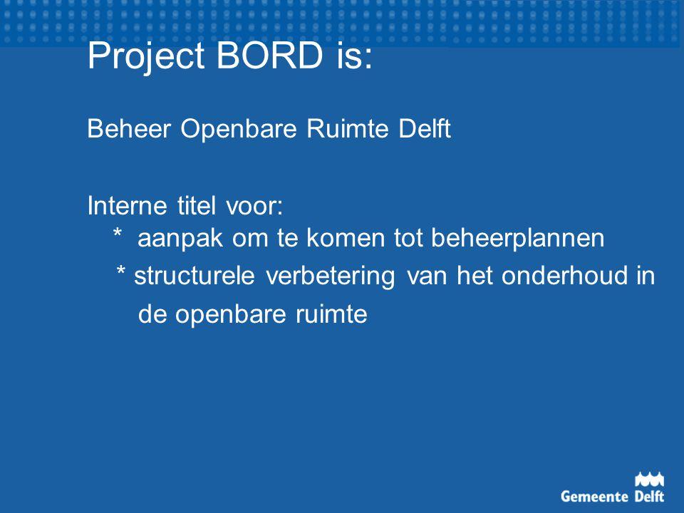 Project BORD is: Beheer Openbare Ruimte Delft Interne titel voor: * aanpak om te komen tot beheerplannen * structurele verbetering van het onderhoud in de openbare ruimte