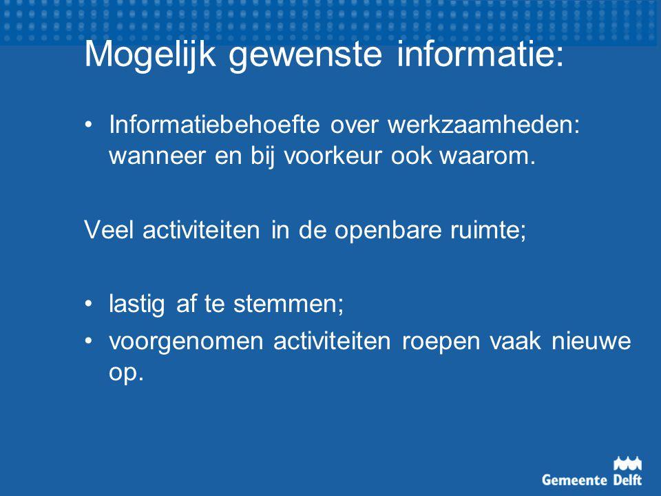 Mogelijk gewenste informatie: Informatiebehoefte over werkzaamheden: wanneer en bij voorkeur ook waarom.