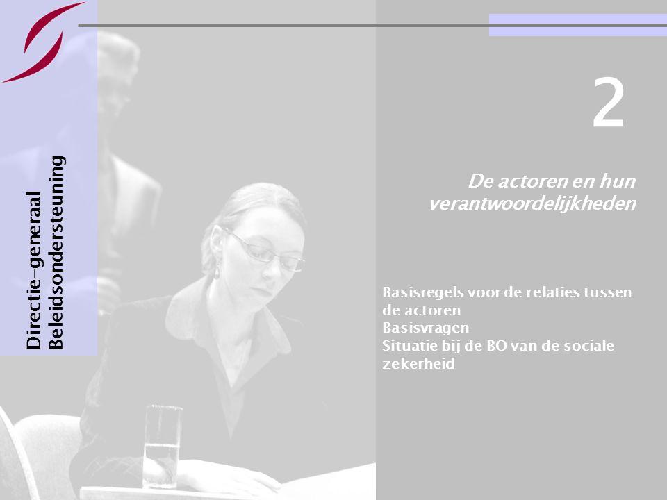 Bestuursovereenkomsten : informatie & basisvragen Pagina 11 De actoren en hun verantwoordelijkheden Directie-generaal Beleidsondersteuning 2 Basisregels voor de relaties tussen de actoren Basisvragen Situatie bij de BO van de sociale zekerheid