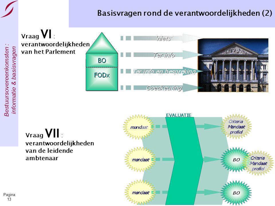 Bestuursovereenkomsten : informatie & basisvragen Pagina 13 Basisvragen rond de verantwoordelijkheden (2) Vraag VII : verantwoordelijkheden van de leidende ambtenaar Vraag VI : verantwoordelijkheden van het Parlement