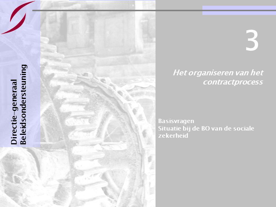 Bestuursovereenkomsten : informatie & basisvragen Pagina 16 Het organiseren van het contractprocess Directie-generaal Beleidsondersteuning 3 Basisvrag