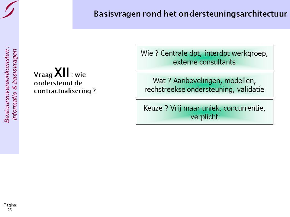 Bestuursovereenkomsten : informatie & basisvragen Pagina 26 Basisvragen rond het ondersteuningsarchitectuur Vraag XII : wie ondersteunt de contractualisering .