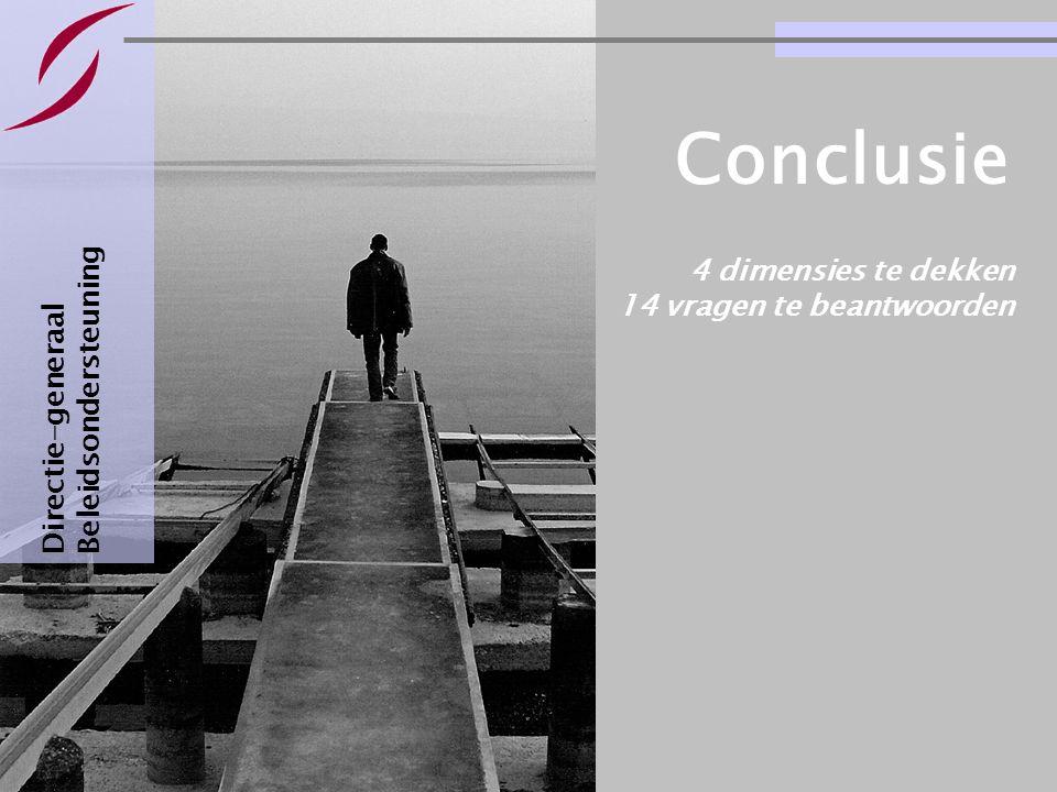 Bestuursovereenkomsten : informatie & basisvragen Pagina 29 4 dimensies te dekken 14 vragen te beantwoorden Directie-generaal Beleidsondersteuning Conclusie