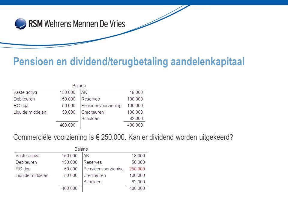 Commerciële voorziening is € 250.000. Kan er dividend worden uitgekeerd? Pensioen en dividend/terugbetaling aandelenkapitaal