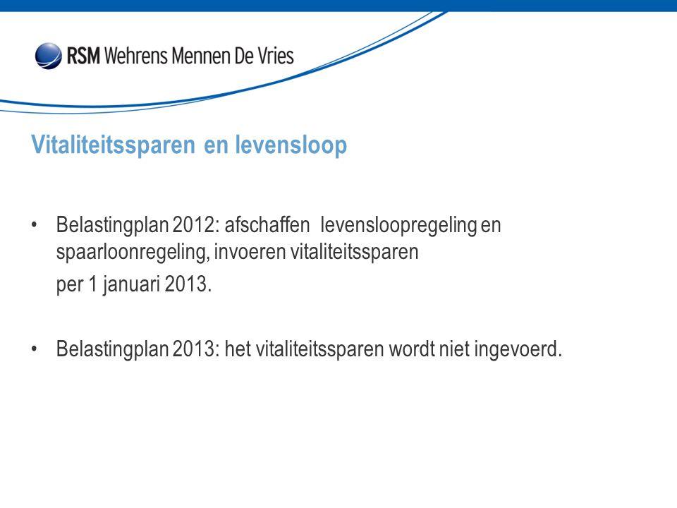 Belastingplan 2012: afschaffen levensloopregeling en spaarloonregeling, invoeren vitaliteitssparen per 1 januari 2013. Belastingplan 2013: het vitalit