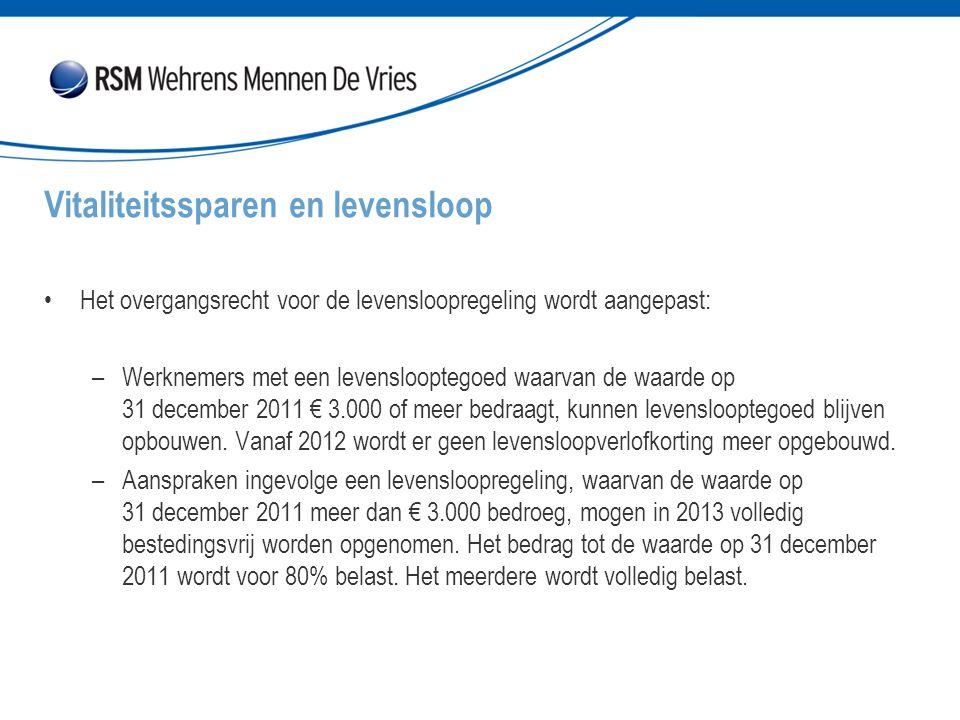 Het overgangsrecht voor de levensloopregeling wordt aangepast: –Werknemers met een levenslooptegoed waarvan de waarde op 31 december 2011 € 3.000 of meer bedraagt, kunnen levenslooptegoed blijven opbouwen.