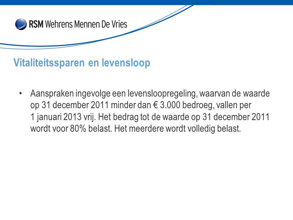 Aanspraken ingevolge een levensloopregeling, waarvan de waarde op 31 december 2011 minder dan € 3.000 bedroeg, vallen per 1 januari 2013 vrij. Het bed