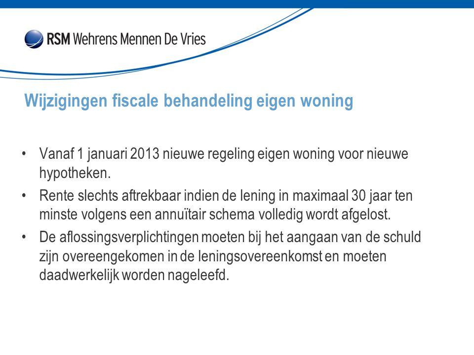 Vanaf 1 januari 2013 nieuwe regeling eigen woning voor nieuwe hypotheken. Rente slechts aftrekbaar indien de lening in maximaal 30 jaar ten minste vol