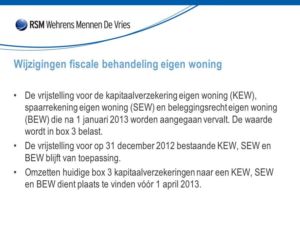 De vrijstelling voor de kapitaalverzekering eigen woning (KEW), spaarrekening eigen woning (SEW) en beleggingsrecht eigen woning (BEW) die na 1 januari 2013 worden aangegaan vervalt.