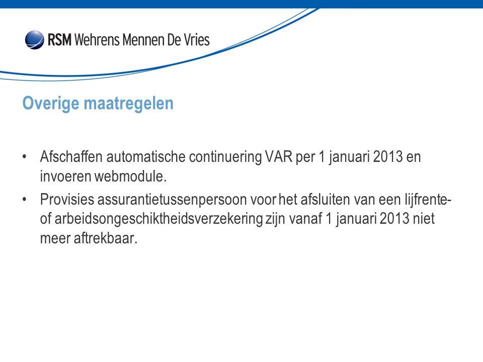 Afschaffen automatische continuering VAR per 1 januari 2013 en invoeren webmodule. Provisies assurantietussenpersoon voor het afsluiten van een lijfre