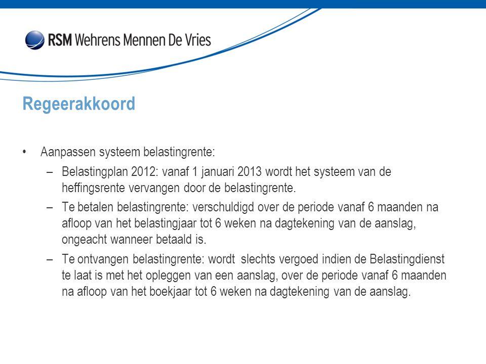 Aanpassen systeem belastingrente: –Belastingplan 2012: vanaf 1 januari 2013 wordt het systeem van de heffingsrente vervangen door de belastingrente. –