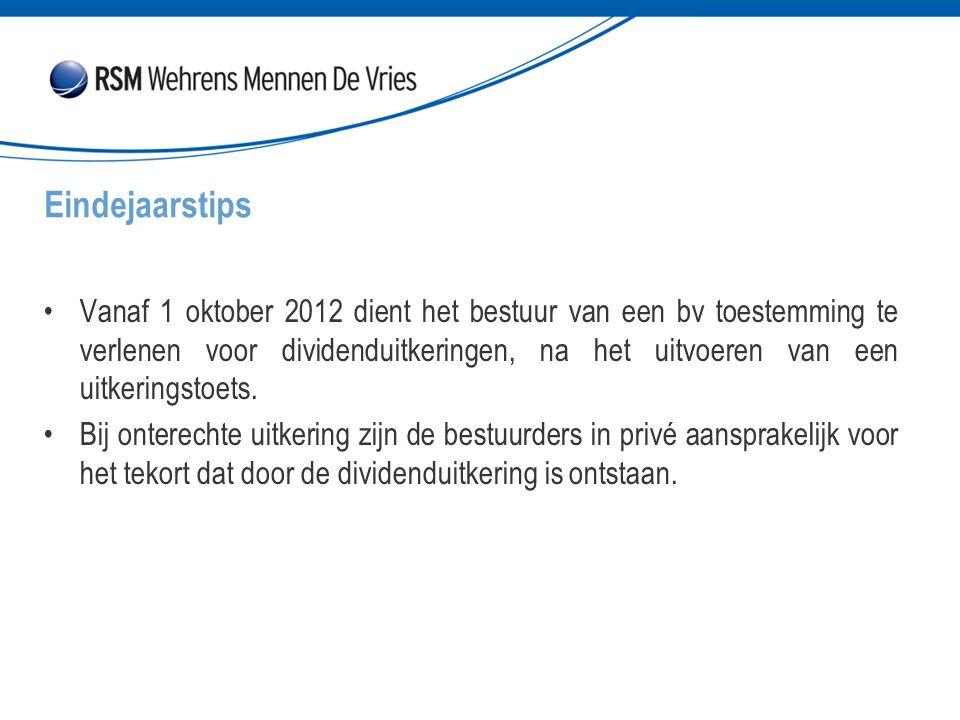 Vanaf 1 oktober 2012 dient het bestuur van een bv toestemming te verlenen voor dividenduitkeringen, na het uitvoeren van een uitkeringstoets.
