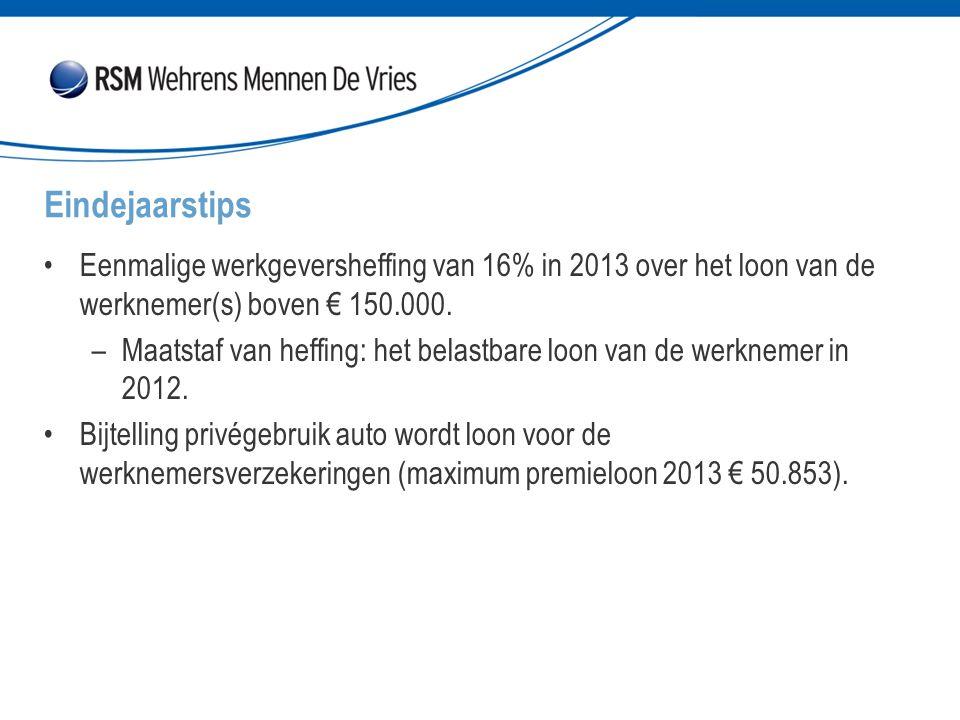 Eenmalige werkgeversheffing van 16% in 2013 over het loon van de werknemer(s) boven € 150.000.
