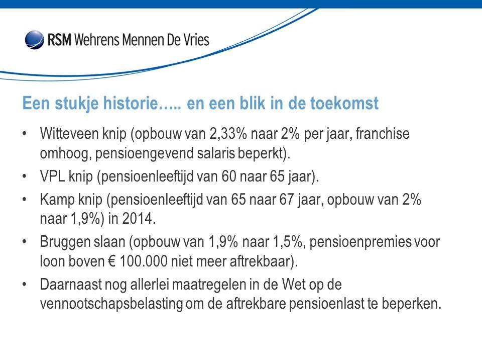 Witteveen knip (opbouw van 2,33% naar 2% per jaar, franchise omhoog, pensioengevend salaris beperkt). VPL knip (pensioenleeftijd van 60 naar 65 jaar).