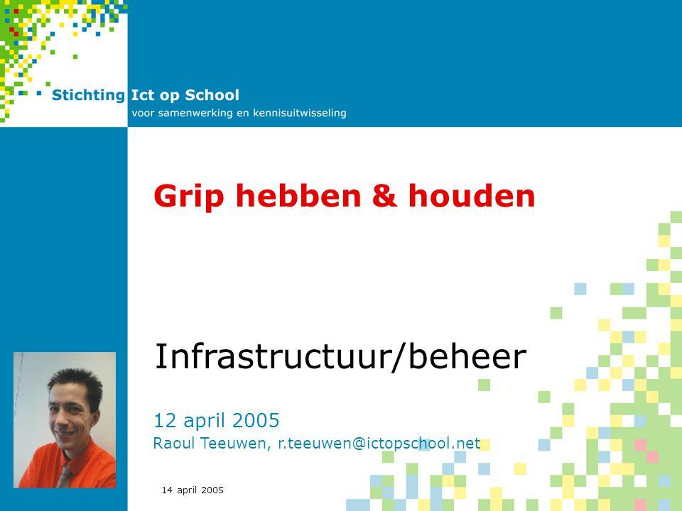 14 april 2005 Grip hebben & houden 12 april 2005 Raoul Teeuwen, r.teeuwen@ictopschool.net Infrastructuur/beheer
