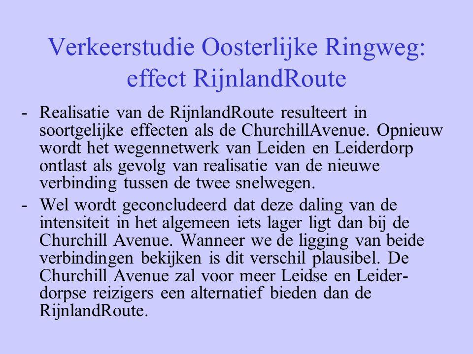 Verkeerstudie Oosterlijke Ringweg: effect RijnlandRoute -Realisatie van de RijnlandRoute resulteert in soortgelijke effecten als de ChurchillAvenue. O