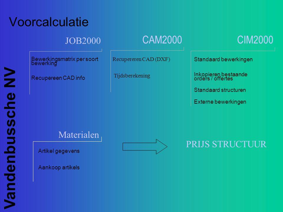Vandenbussche NV CIM2000 JOB2000 CAM2000 Voorcalculatie Bewerkingsmatrix per soort bewerking Recupereen CAD info Recupereren CAD (DXF) Tijdsberekening