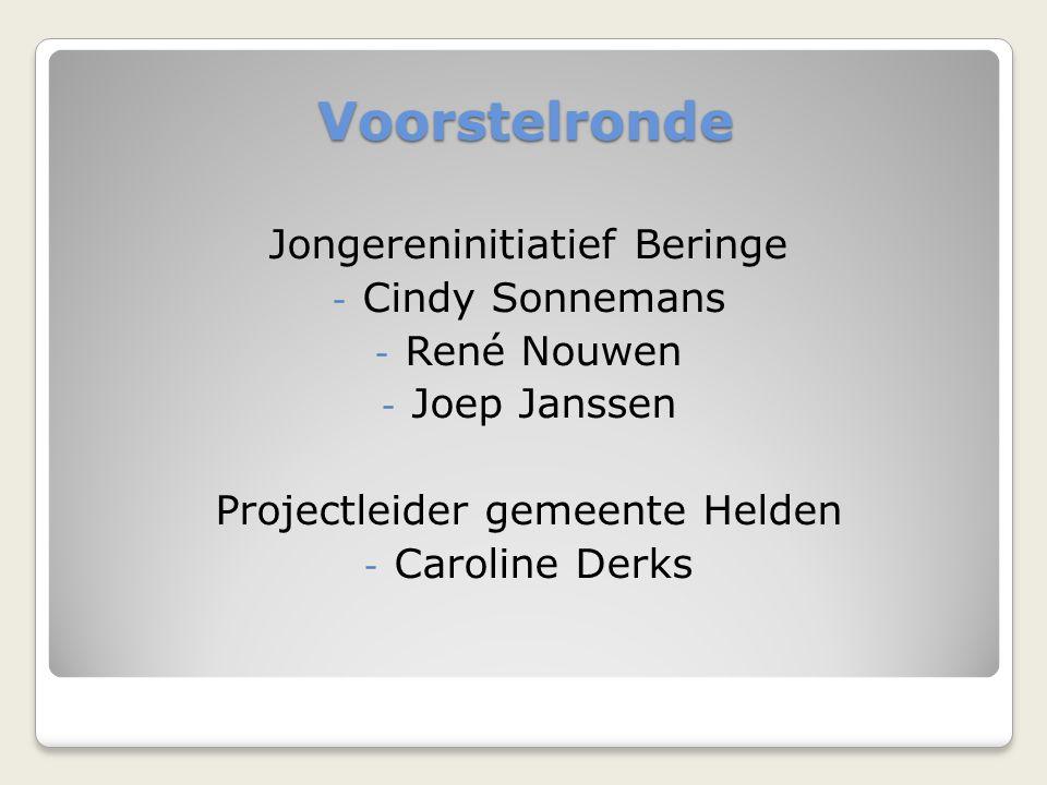 Voorstelronde Jongereninitiatief Beringe - Cindy Sonnemans - René Nouwen - Joep Janssen Projectleider gemeente Helden - Caroline Derks